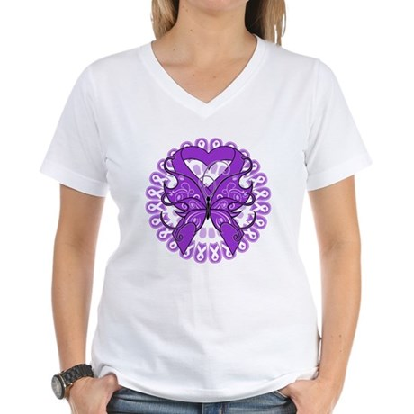 Leiomyosarcoma Butterfly Women's V-Neck T-Shirt