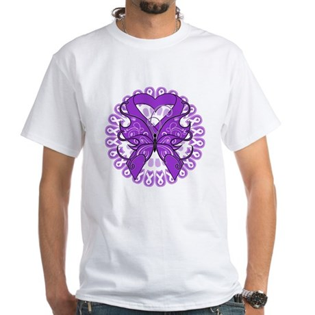 Leiomyosarcoma Butterfly White T-Shirt