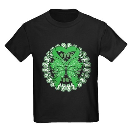 Liver Cancer Butterfly Kids Dark T-Shirt