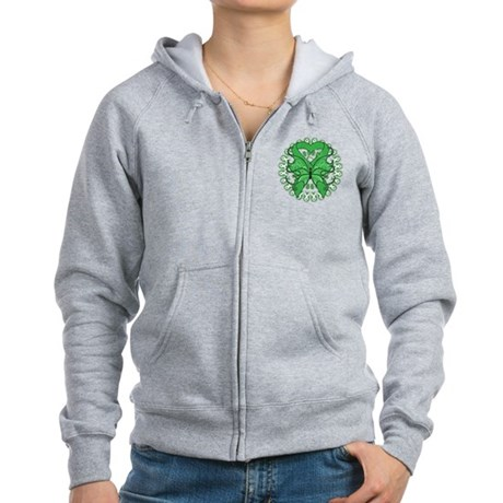 Liver Cancer Butterfly Women's Zip Hoodie