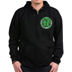 Liver Cancer Butterfly Zip Hoodie (dark)