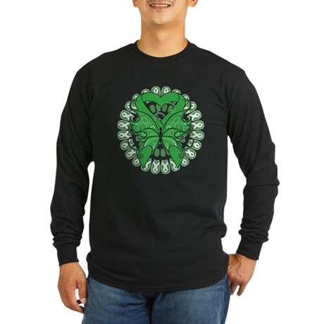 Liver Cancer Butterfly Long Sleeve Dark T-Shirt