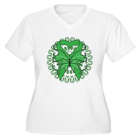 Liver Cancer Butterfly Women's Plus Size V-Neck T-
