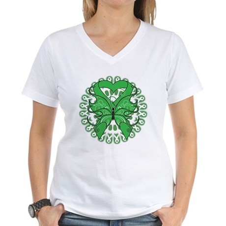 Liver Cancer Butterfly Women's V-Neck T-Shirt