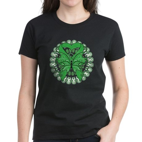Liver Cancer Butterfly Women's Dark T-Shirt