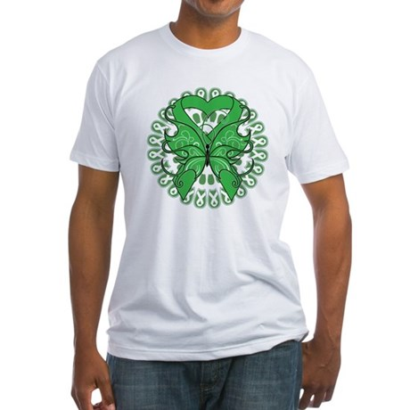 Liver Cancer Butterfly Fitted T-Shirt