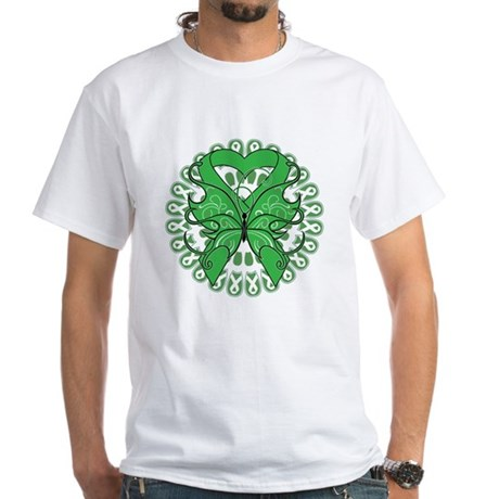 Liver Cancer Butterfly White T-Shirt