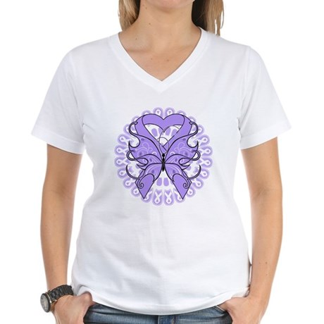 General Cancer Butterfly Women's V-Neck T-Shirt