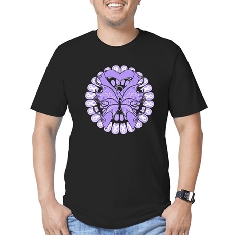 General Cancer Butterfly Men's Fitted T-Shirt (dar