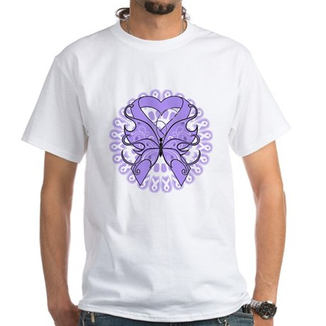 General Cancer Butterfly White T-Shirt