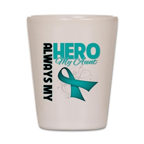 Ovarian Cancer Hero Aunt Shot Glass