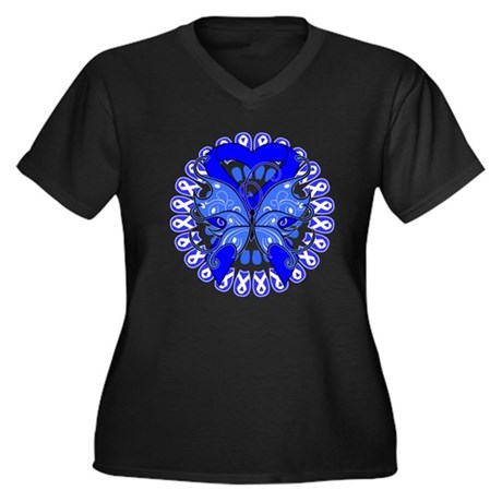 Colon Cancer Butterfly Women's Plus Size V-Neck Da