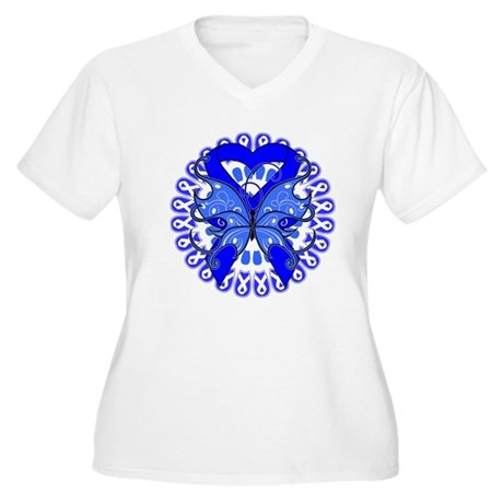 Colon Cancer Butterfly Women's Plus Size V-Neck T-
