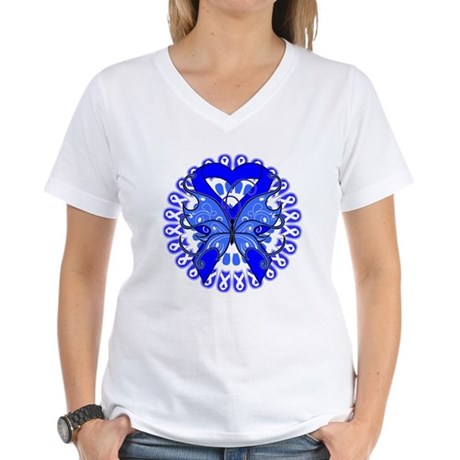 Colon Cancer Butterfly Women's V-Neck T-Shirt