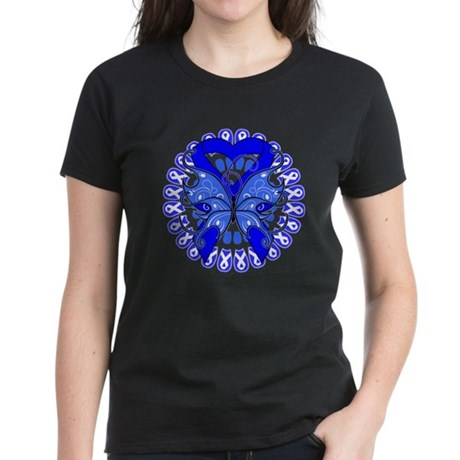 Colon Cancer Butterfly Women's Dark T-Shirt