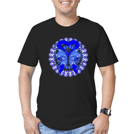 Colon Cancer Butterfly Men's Fitted T-Shirt (dark)