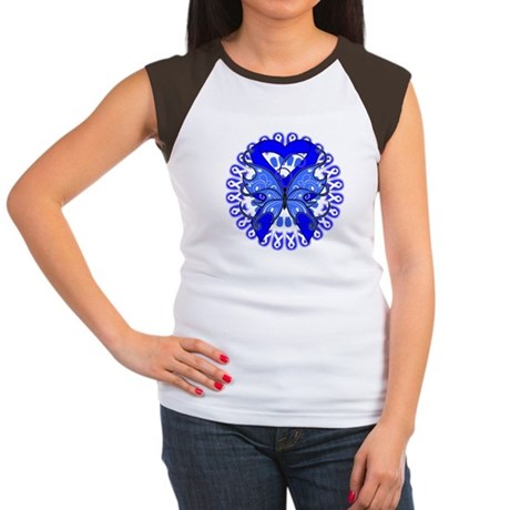 Colon Cancer Butterfly Women's Cap Sleeve T-Shirt