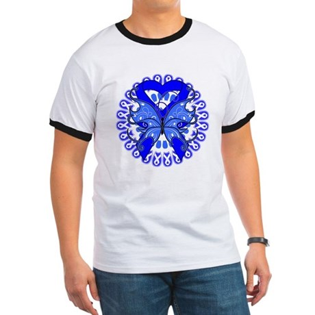 Colon Cancer Butterfly Ringer T