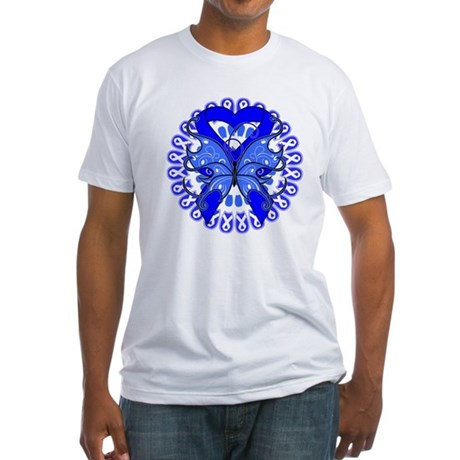 Colon Cancer Butterfly Fitted T-Shirt