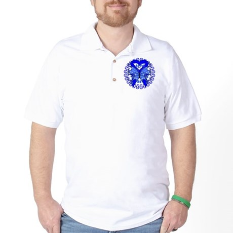 Colon Cancer Butterfly Golf Shirt