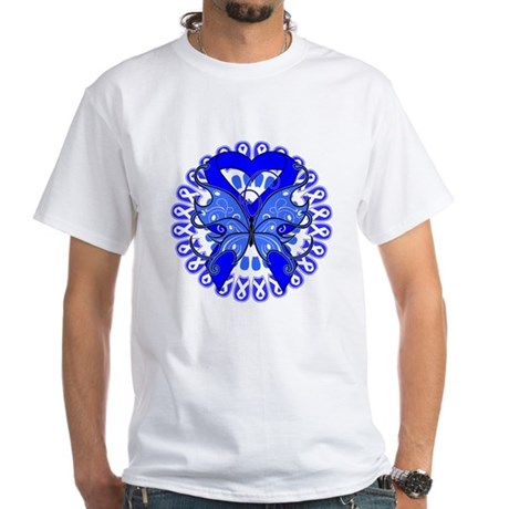 Colon Cancer Butterfly White T-Shirt