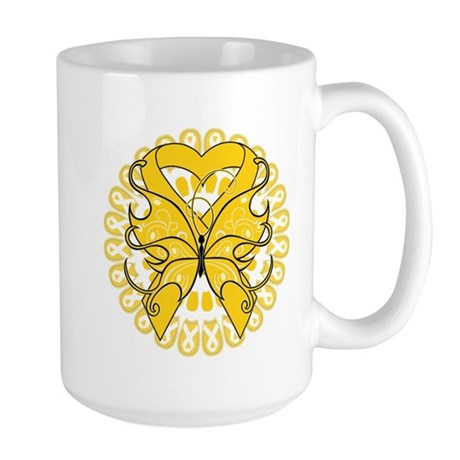 Childhood Cancer Butterfly Large Mug
