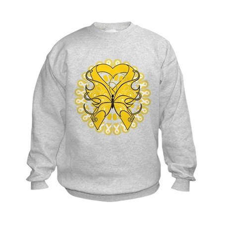 Childhood Cancer Butterfly Kids Sweatshirt
