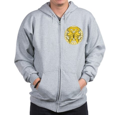 Childhood Cancer Butterfly Zip Hoodie