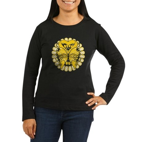 Childhood Cancer Butterfly Women's Long Sleeve Dar