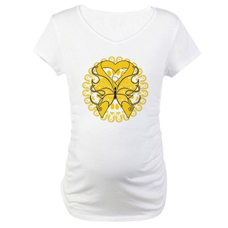 Childhood Cancer Butterfly Maternity T-Shirt