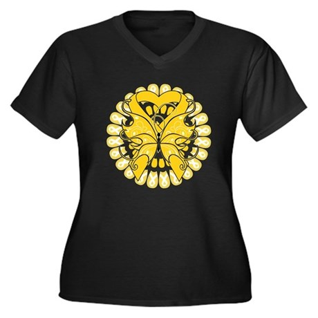 Childhood Cancer Butterfly Women's Plus Size V-Nec