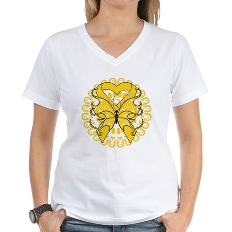 Childhood Cancer Butterfly Women's V-Neck T-Shirt