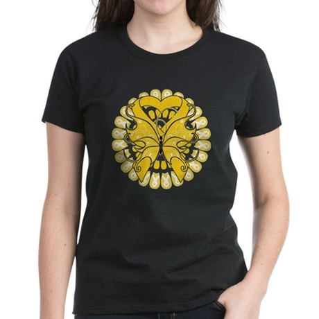 Childhood Cancer Butterfly Women's Dark T-Shirt