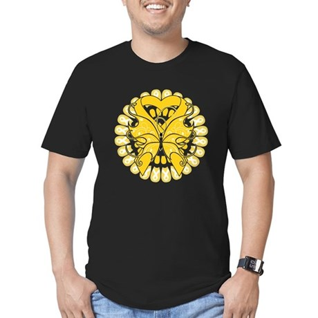 Childhood Cancer Butterfly Men's Fitted T-Shirt (d