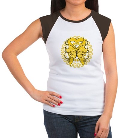 Childhood Cancer Butterfly Women's Cap Sleeve T-Sh