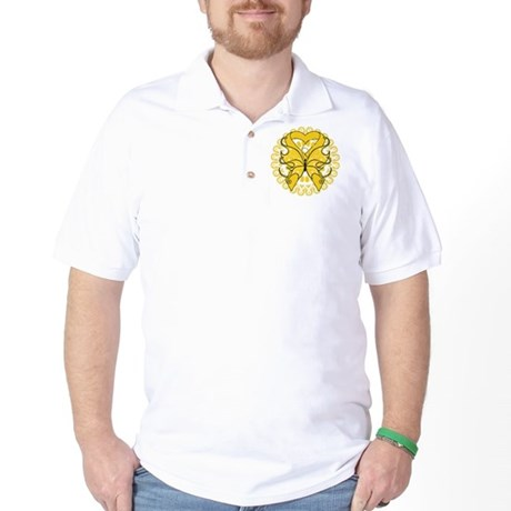 Childhood Cancer Butterfly Golf Shirt
