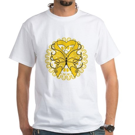 Childhood Cancer Butterfly White T-Shirt