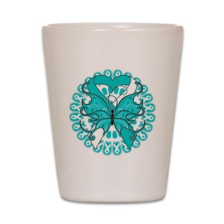 Cervical Cancer Butterfly Shot Glass