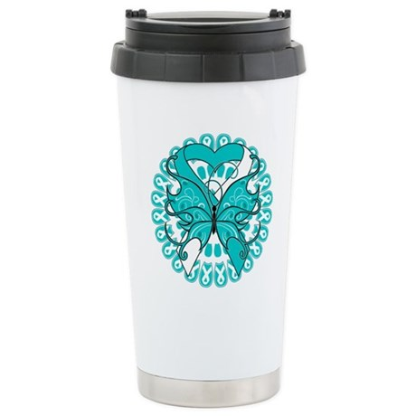 Cervical Cancer Butterfly Ceramic Travel Mug
