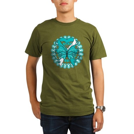 Cervical Cancer Butterfly Organic Men's T-Shirt (d