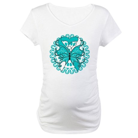 Cervical Cancer Butterfly Maternity T-Shirt