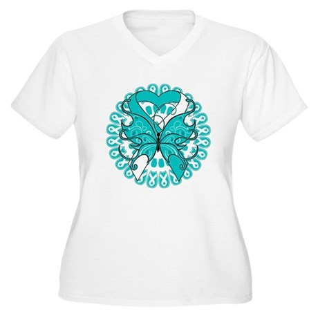 Cervical Cancer Butterfly Women's Plus Size V-Neck