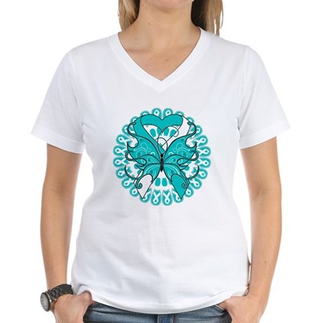 Cervical Cancer Butterfly Women's V-Neck T-Shirt