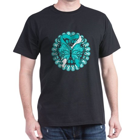 Cervical Cancer Butterfly Dark T-Shirt