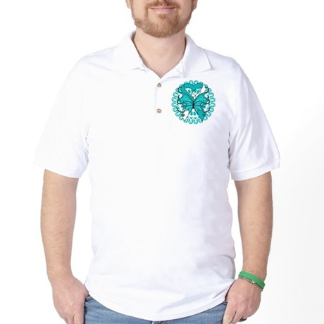 Cervical Cancer Butterfly Golf Shirt
