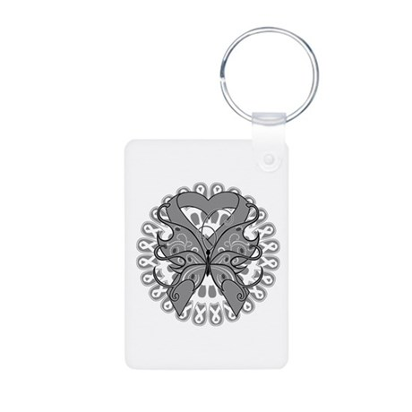 Brain Cancer Butterfly Aluminum Photo Keychain