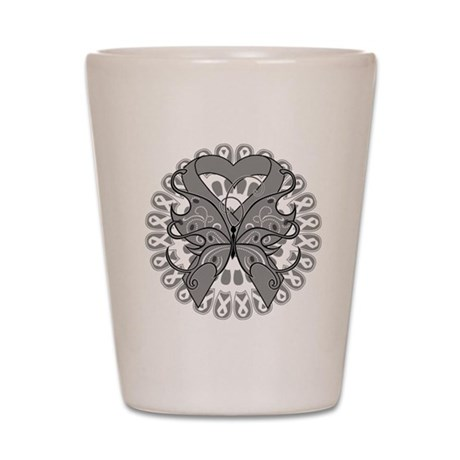 Brain Cancer Butterfly Shot Glass