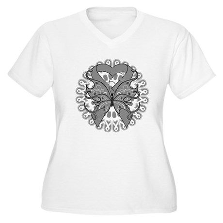 Brain Cancer Butterfly Women's Plus Size V-Neck T-