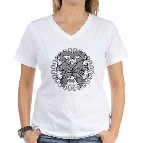 Brain Cancer Butterfly Women's V-Neck T-Shirt