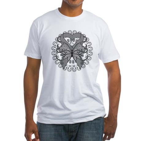 Brain Cancer Butterfly Fitted T-Shirt
